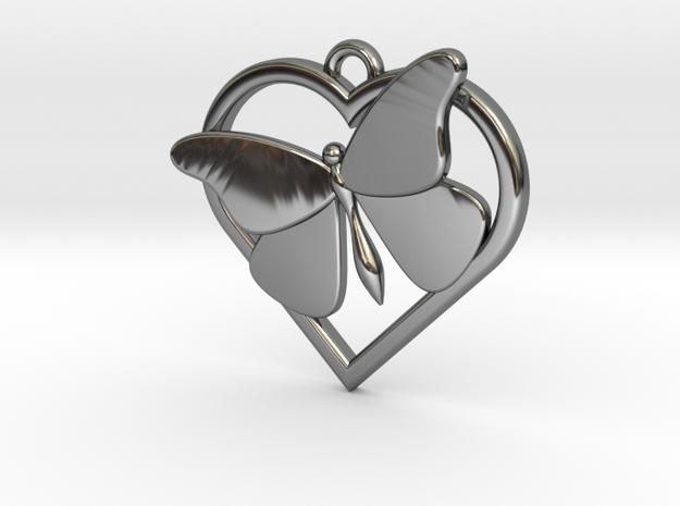 Heart Butterfly in Fine Detail Polished Silver