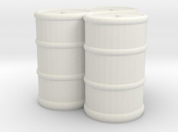 Oil Drums (3) in White Natural Versatile Plastic