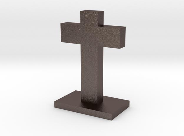 Simple Cross in Polished Bronzed Silver Steel