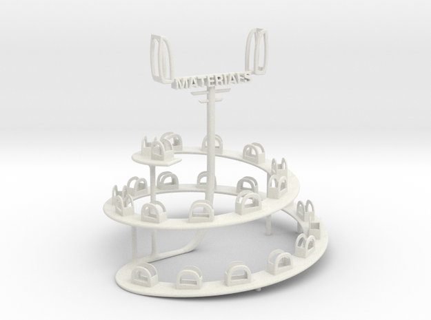 The Helix - Material Sample Stand in White Natural Versatile Plastic