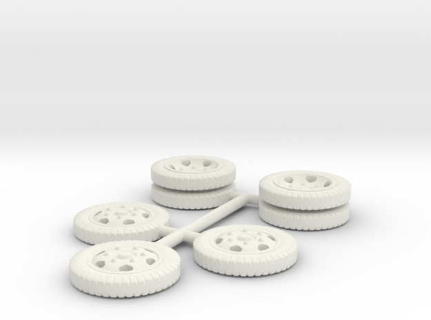 1/72 Opel Blitz wheels set in White Natural Versatile Plastic
