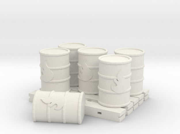 barrels on pallet in White Natural Versatile Plastic