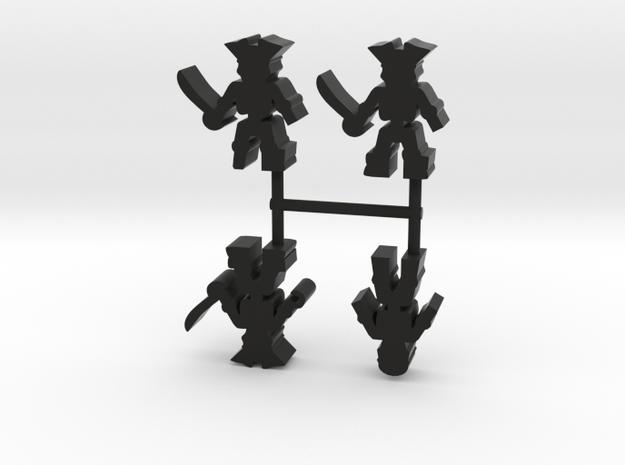 Pirate Skeleton Meeple, mixed, 4-set in Black Natural Versatile Plastic