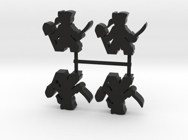 Pirate Meeple, sword and shovel, 4-set in Black Natural Versatile Plastic