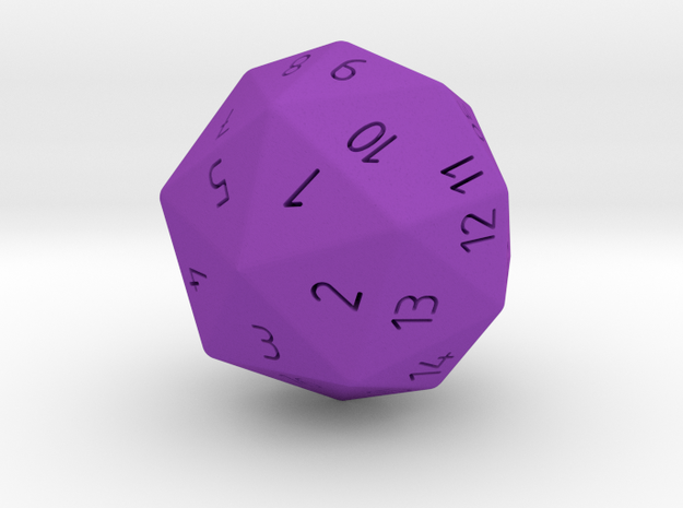 large D40 Spindown - classic design 40 sided die in Purple Processed Versatile Plastic