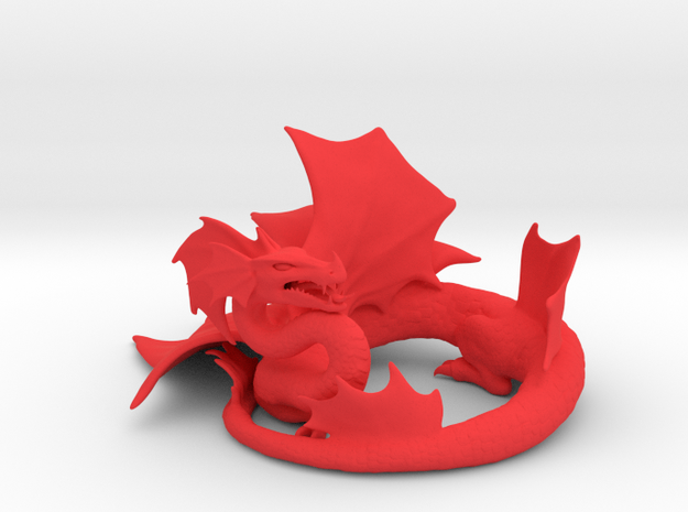 Finned Dragon in Red Processed Versatile Plastic