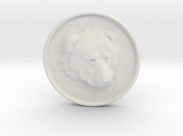 Grizzly Bear Coin in White Natural Versatile Plastic