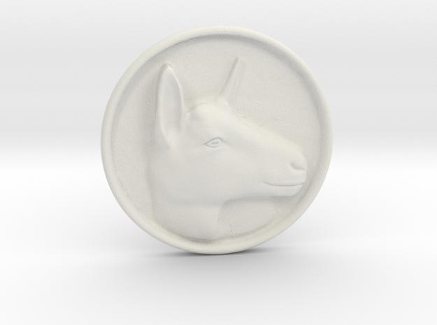 Alpine Doe Coin in White Natural Versatile Plastic