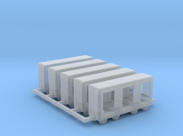 Grubenbahn Perseonenwagen V1 - 5erSet - Nf 1:160 in Smooth Fine Detail Plastic