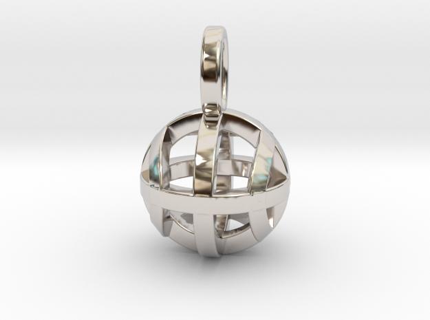 Tennis Sphere XYZ (Pendant) in Rhodium Plated Brass