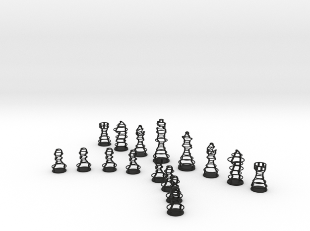 Rings Chess Set in Black Natural Versatile Plastic