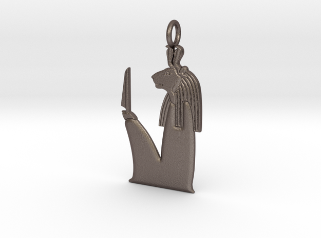 Maahes/Mihos amulet in Polished Bronzed-Silver Steel