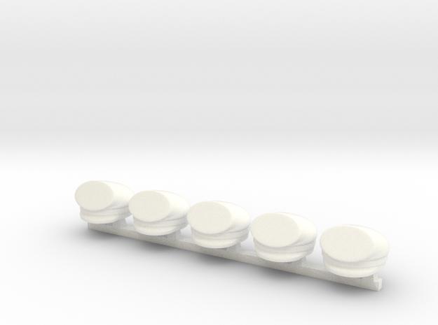 5 x Stuermer (forage cap or student cap) in White Processed Versatile Plastic