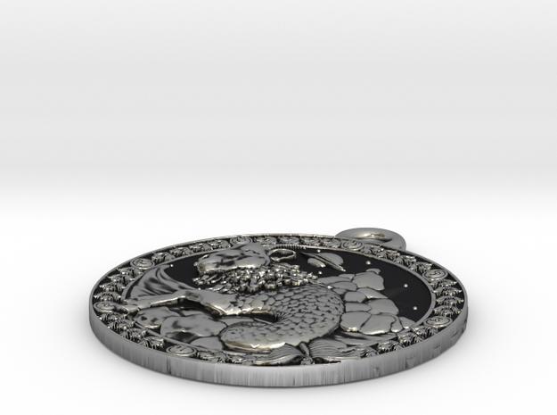 Capricorn Medaillon in Antique Silver
