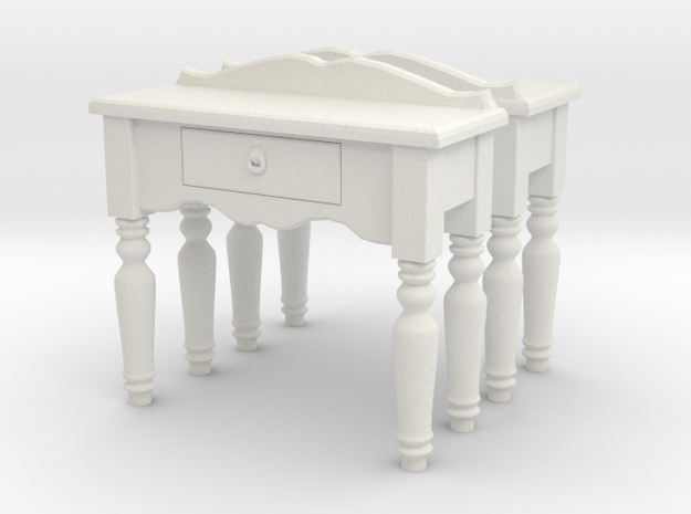 Hall side table 01. O Scale (1:48) in White Natural Versatile Plastic