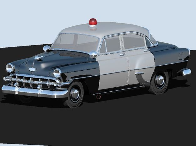 1954 Chevy Police Car (2) N Scale Vehicles in Smooth Fine Detail Plastic