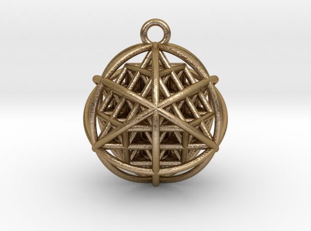 """64 Tetrahedron Grid Pendant 1"""" in Polished Gold Steel"""