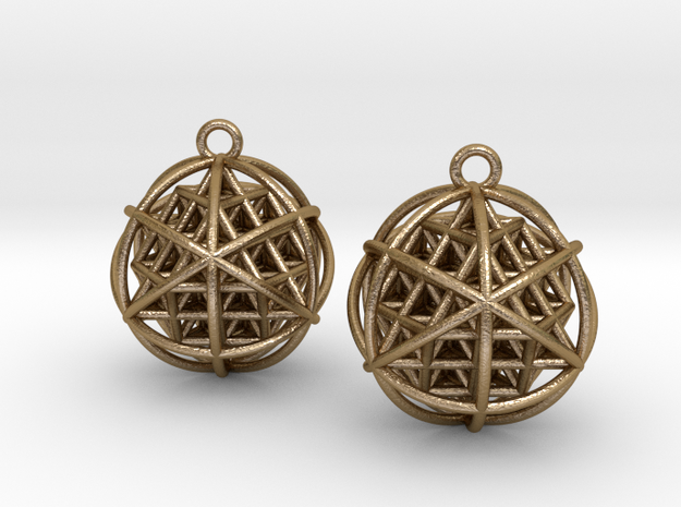 64 Tetrahedron Grid Earrings in Polished Gold Steel