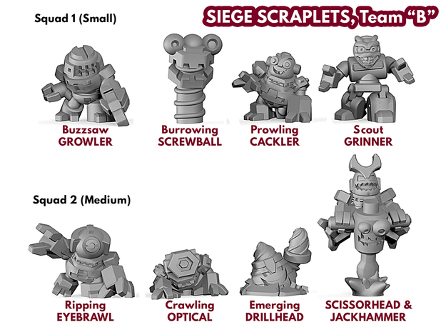 Siege Scraplets - Team B in Smooth Fine Detail Plastic: Large