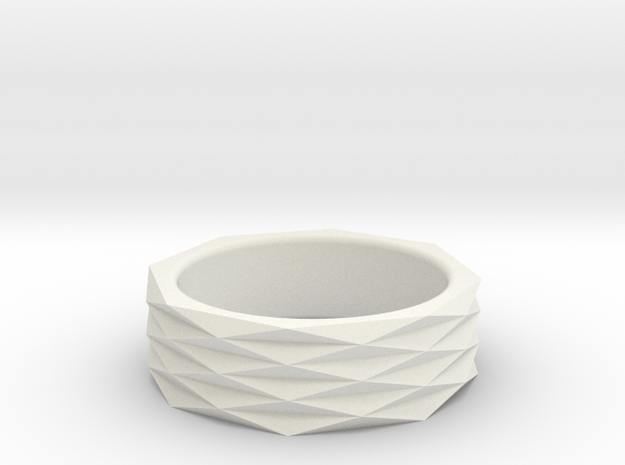 Origami Ring 'H' in White Natural Versatile Plastic