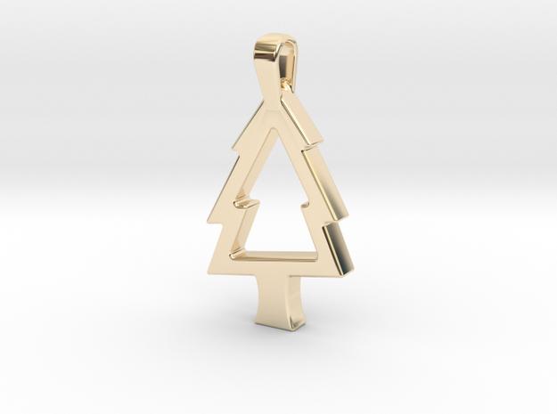 Elegant Christmas Tree in 14k Gold Plated Brass