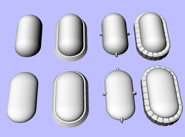 Set of Pill-Shaped Gems for Terrain and Models in Smoothest Fine Detail Plastic: Extra Small