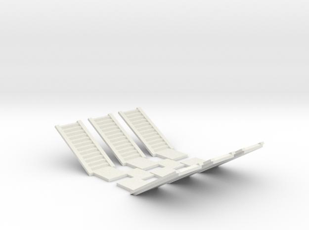 Concrete Stair Run 12 risers (N scale) in White Natural Versatile Plastic