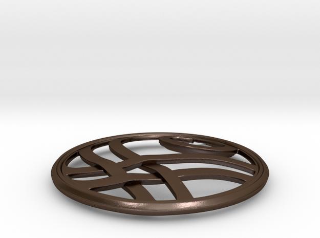 Threadbender Pendant in Polished Bronze Steel: Medium