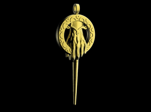 Hand of the King Keychain in Polished Gold Steel