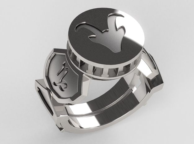 Capricorn Ring in Polished Silver: 10 / 61.5