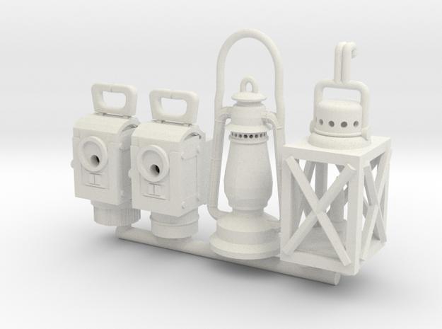 1:18 German WW2 Lamps and Lanterns Set 1 in White Natural Versatile Plastic