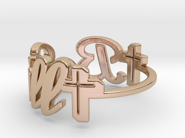 faith word be still ring -various sizes in 14k Rose Gold Plated Brass: 7 / 54