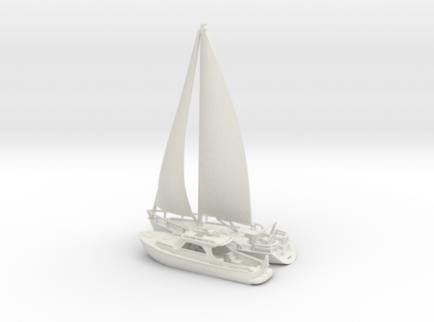 Yacht and Sailboat.N Scale (1:160)
