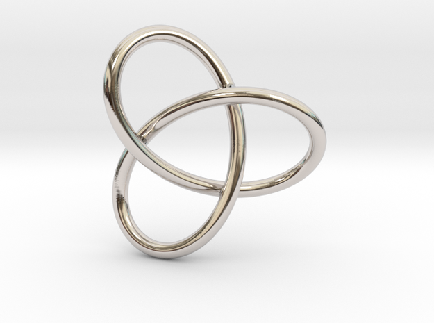 Trefoil Knot Pendant in Rhodium Plated Brass