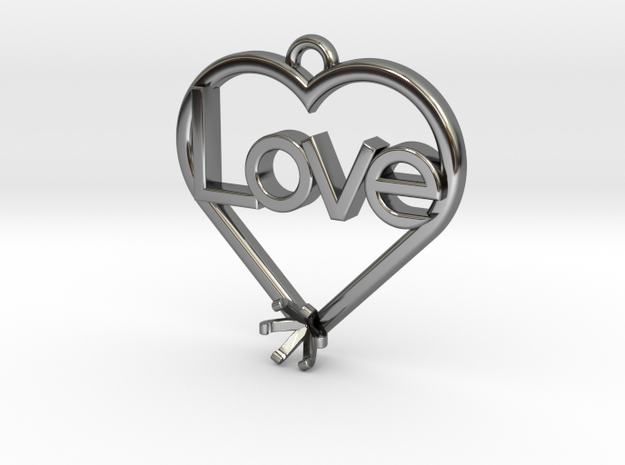 "Heart Pendant ""Love"" (Mount 4.28mm) in Fine Detail Polished Silver"