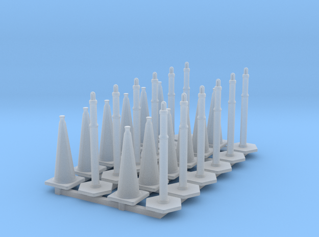 Set of 24 - Traffic Cones and Tube Cone in Smooth Fine Detail Plastic