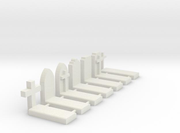 N Scale Cemetery Graves Graveyard 1:160 in White Natural Versatile Plastic
