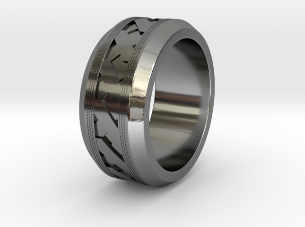 Men's X-Band Ring (Ridged) in Fine Detail Polished Silver