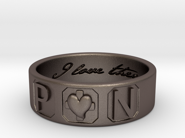 P and N Ring in Polished Bronzed-Silver Steel