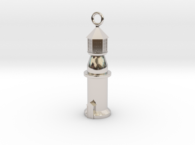Lighthouse Charm (Pendant) in Rhodium Plated Brass
