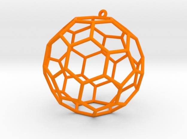 fullerene bauble ornament in Orange Processed Versatile Plastic