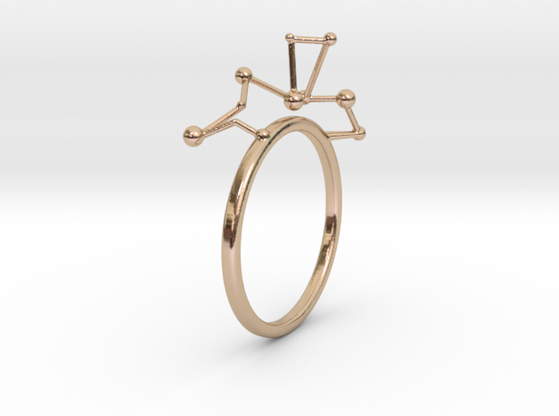 geometric minimalist star constellation ring in 14k Rose Gold Plated Brass: 7 / 54