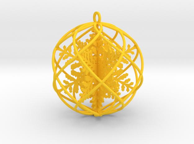 triple snowflakes bauble  in Yellow Processed Versatile Plastic