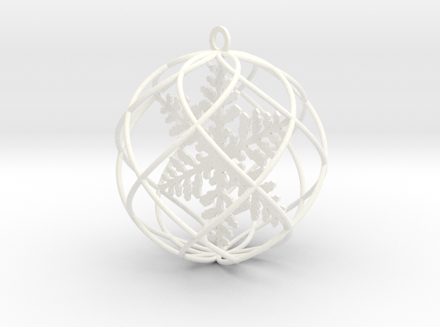 snowflake bauble ornament in White Processed Versatile Plastic