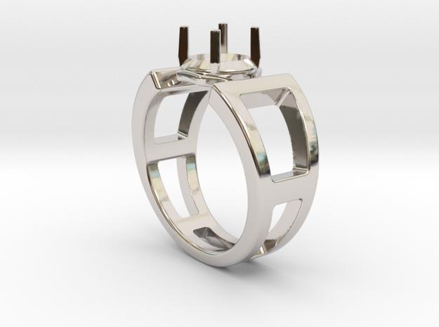 Women's - Gem (Ready) Ring #4 in Rhodium Plated Brass