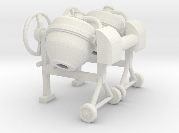 Cement mixer 02 .Scale 1:43 in White Natural Versatile Plastic