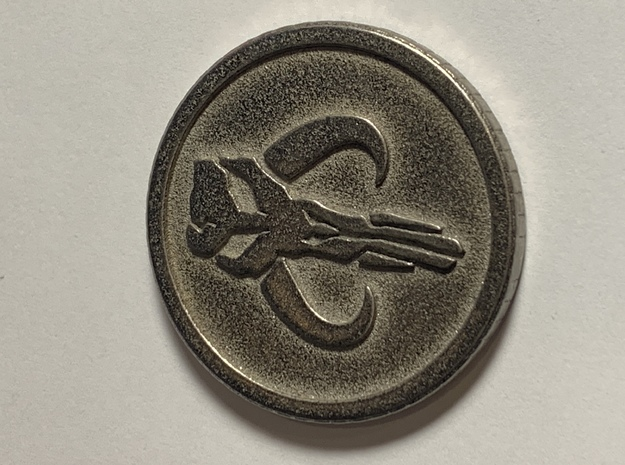 Mandalorian Coin (Sabacc) in Polished Bronzed-Silver Steel