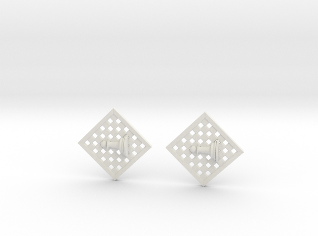 Chess Earrings - Pawn in White Strong & Flexible