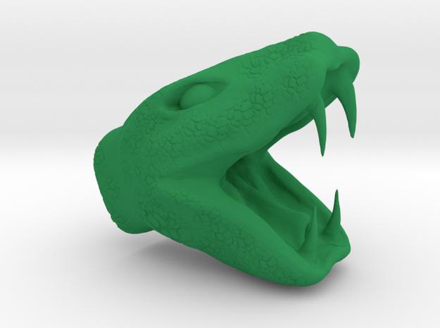 Snake head pendant  in Green Processed Versatile Plastic