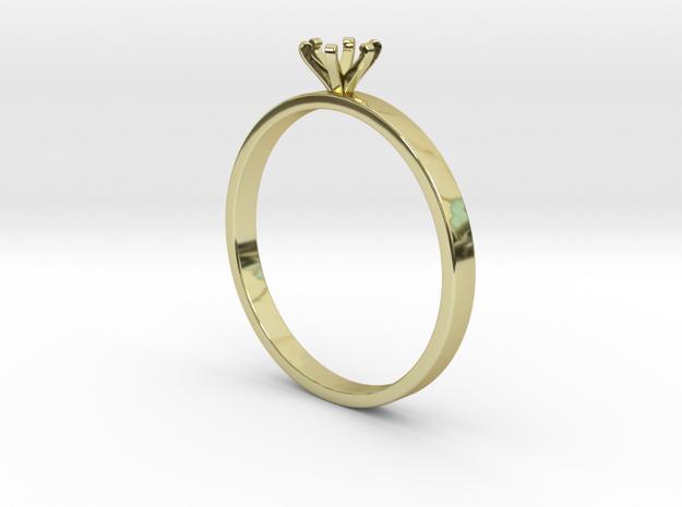 Plain Size 7 Ring - 4mm Gem - 6 prong - v4 in 18k Gold